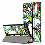 All-New Amazon Fire HD 10 Case (7th Generation, 2017 Release), USTY Slim Lightweight Smart Cover Protective Stand Hard Shell Case with Auto Wake/Sleep for Fire HD 10.1 inch Tablet - Love Tree