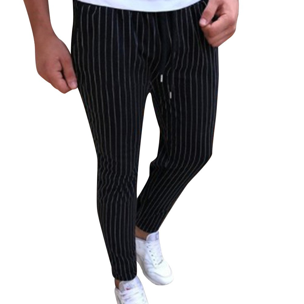 Spbamboo Mens Casual Pants Sport Jogging Striped Slim Pencil Drawstring Trousers
