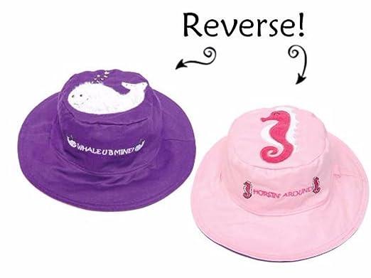 faa091f52 Amazon.com: FlapJack Kids Reversible Sun Hat UPF 50+ Whale Seahorse ...