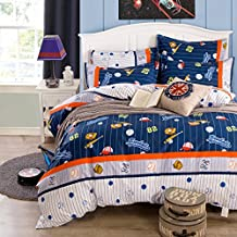 LELVA Boys Bedding Set 4 Piece Kids Bedding Cotton Duvet Cover Set Baseball Bedding Sports Bedding (Queen, Flat Sheet Set)