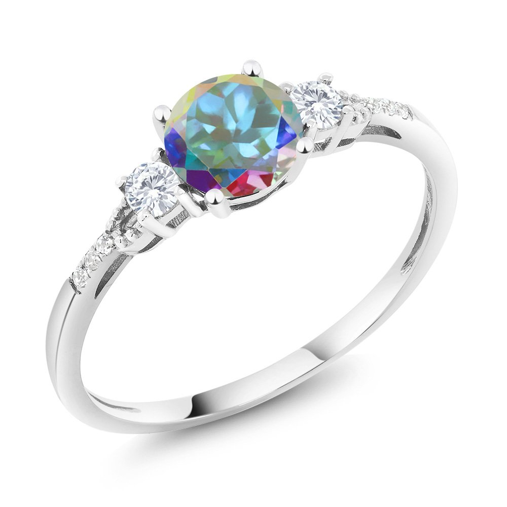 Gem Stone King 10K White Gold Diamond Accent 3-stone Engagement Ring set with Mercury Mist Mystic Topaz Blue Simulated Sapphire 1.21 cttw (Size 5) by Gem Stone King