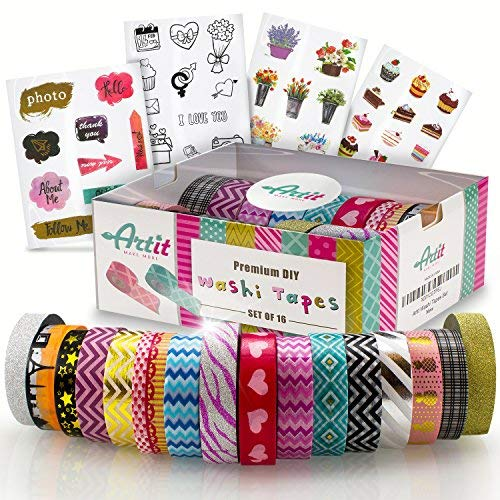 Colored Scrapbook Kit - ARTIT Premium Washi Tape Set | 33 feet Long, 0.6 inch Wide | 16 Decorative Rolls | Sticky Masking Duct Tapes | Glitter Patterned Solid | DIY Crafts Planners Scrapbooking | Gift Box + 4 Sticker Sheets