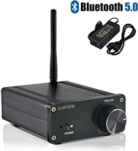 Mini Bluetooth Amplifier Stereo Desktop Receiver - Integrated 2 Channel Amp Class D Bluetooth 5.0 Home Audio Amplifier TPA3116 for Home Speakers 50W x 2 (with Power Supply)