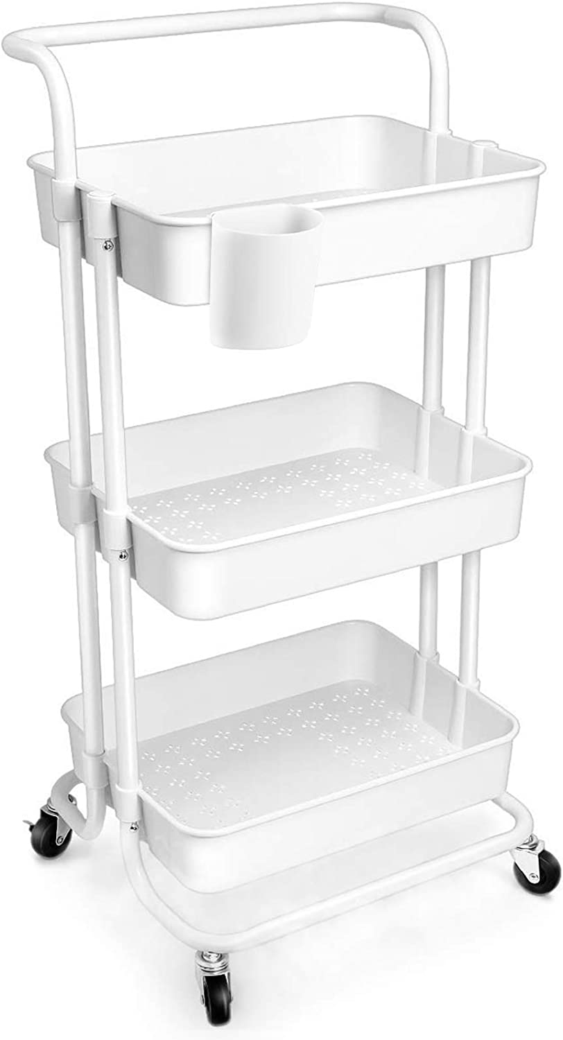 3-Tier Rolling Utility Cart Multifunction Storage Trolley Kitchen Storage Organizer Carts Shelves with Wheels, StainSteel Handle and ABS Storage Basket for Office Bathroom Kitchen Organization(White)