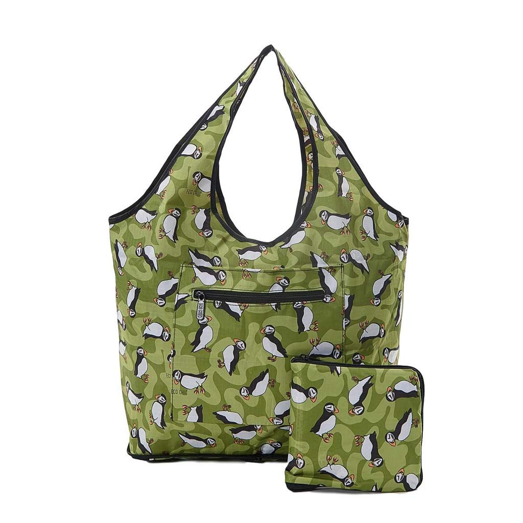 PUFFIN print foldable weekend bag slips over suitcase handle 6 month guarantee