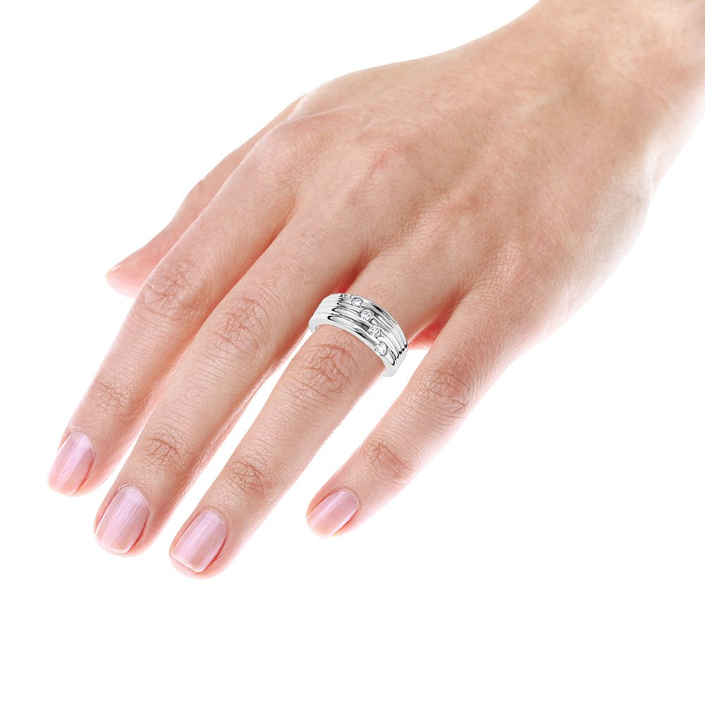 Luxurman Womens 14K Round Natural 0.3 Ctw Diamond Journey Ring For Her (White Gold Size 7.5) by Luxurman (Image #4)