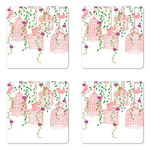 Lunarable Birds Coaster Set of 4, Rose Garden with Flying Birds and Ornate Cages Flower Leaf Home Love Design, Square Hardboard Gloss Coasters for Drinks, Pink Green Purple