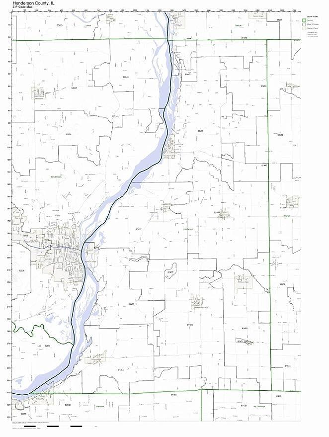 Amazon Com Henderson County Illinois Il Zip Code Map Not Laminated