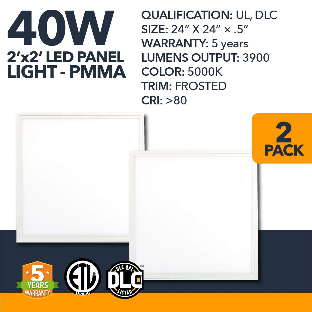 2x2 LED Light Panel - 40w Dimmable Drop Ceiling LED Flat Panel Lighting 5000k - 2 Pack (UL + DLC)