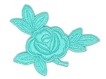 Pequeño tamaño azul verde rosas flor dibujos bordado coser hierro sobre bordado Applique manualidades hecho a mano bebé niña ropa de mujer DIY disfraz ...