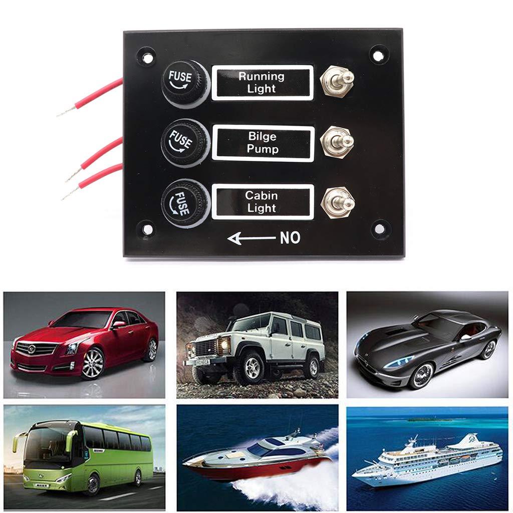 D DOLITY Panel de Interruptor de Barco 3 Pandillas con Fusible de Copia de Seguridad Duro