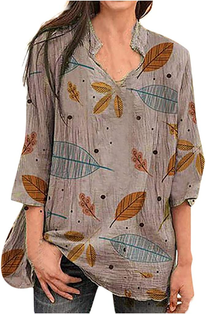 Nevera Womens Printed V Neck Pleated Shirt Casual Long Sleeve Henley Blouse Tops