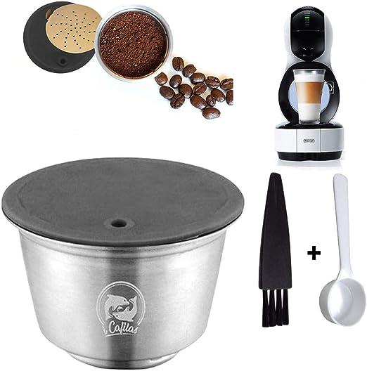 Konesky Cápsulas Reutilizables de Café, Filtro de Cápsula de Café Recargable Metal Acero Inoxidable con Cuchara de Cepillo para Cafetera DOLCE GUSTO LUMIO EDG (Taza de la Cápsula): Amazon.es: Hogar