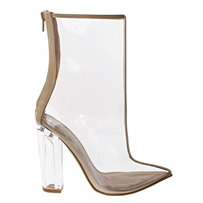 37f917bbb62 Bamboo A Twilight01S Nude Women Clear See Through Lucite Perspex Glass  Block Heel Ankle Bootie -