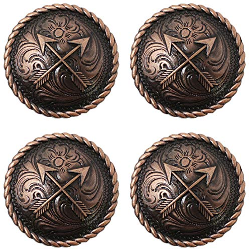 (CHALLENGER Set of 4 Conchos Western Saddle Tack Arrows Engraved Copper Co530)