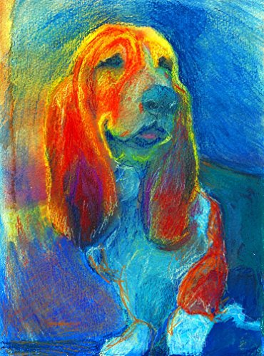 Basset Hound Pastel Painting Print, Colorful Basset Hound Art, Basset Hound decor, Basset Hound Dog Picture, Dog Wall Art Print, Colorful Basset Hound Dog Gift