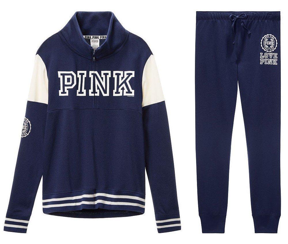Victoria's Secret PINK High-Low Half-Zip Pullover & Gym Pant sweat set, Navy Blue/white, Large