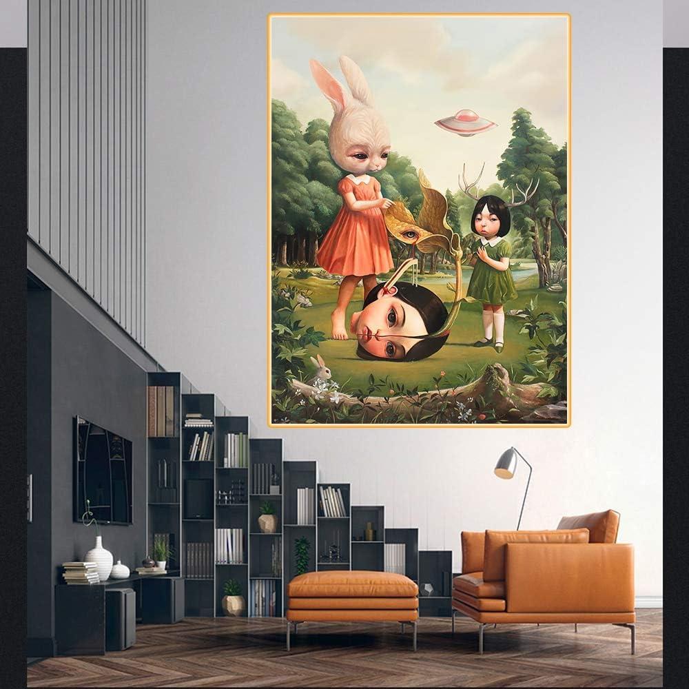 baodanla Imprimir Lienzo Muñeca Abstracta Regalo Decoración de la Sala de Estar de la Oficina de la Pared Decoración Moderna del hogar50x70cm(Sin Marco)