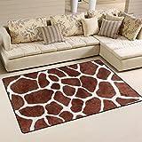 Cheap WOZO Animal Print Giraffe Spot Area Rug Rugs Non-Slip Floor Mat Doormats Living Room Bedroom 60 x 39 inches