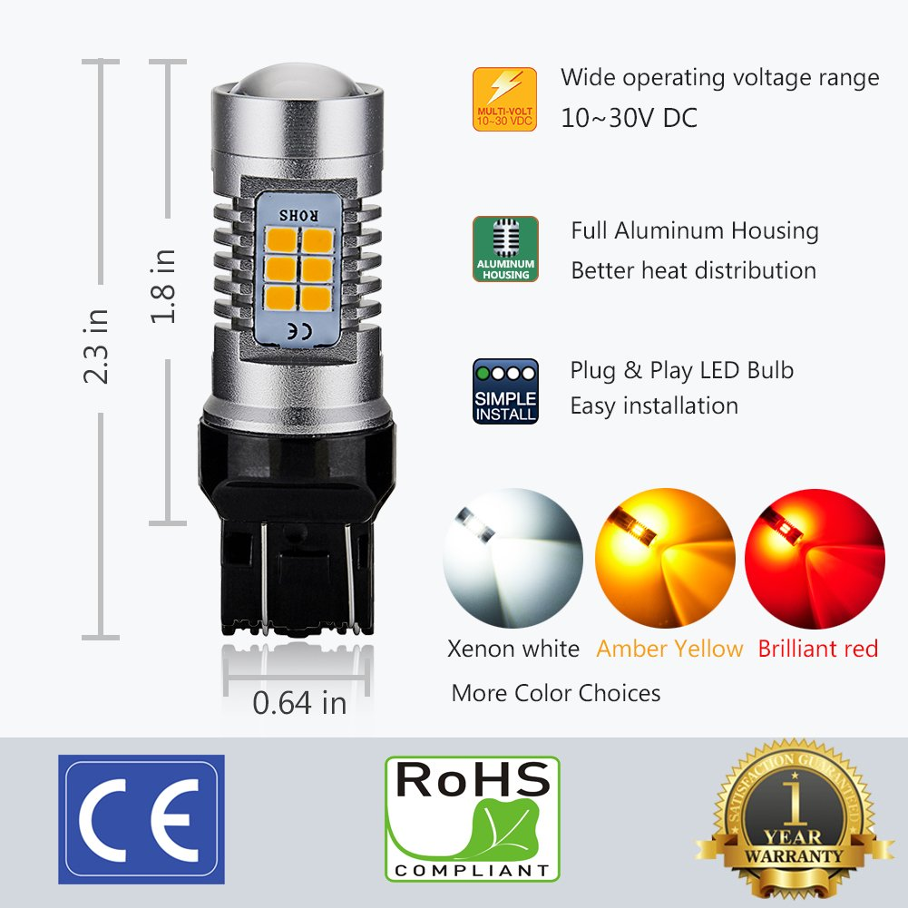 1000 Lumens Extremely Bright 10-30V Work as Back Up Reverse Lights 33-SMD with Projector Lens ENDPAGE 921 912 T15 W16W 906 LED Bulb 2-pack Xenon White 6000K