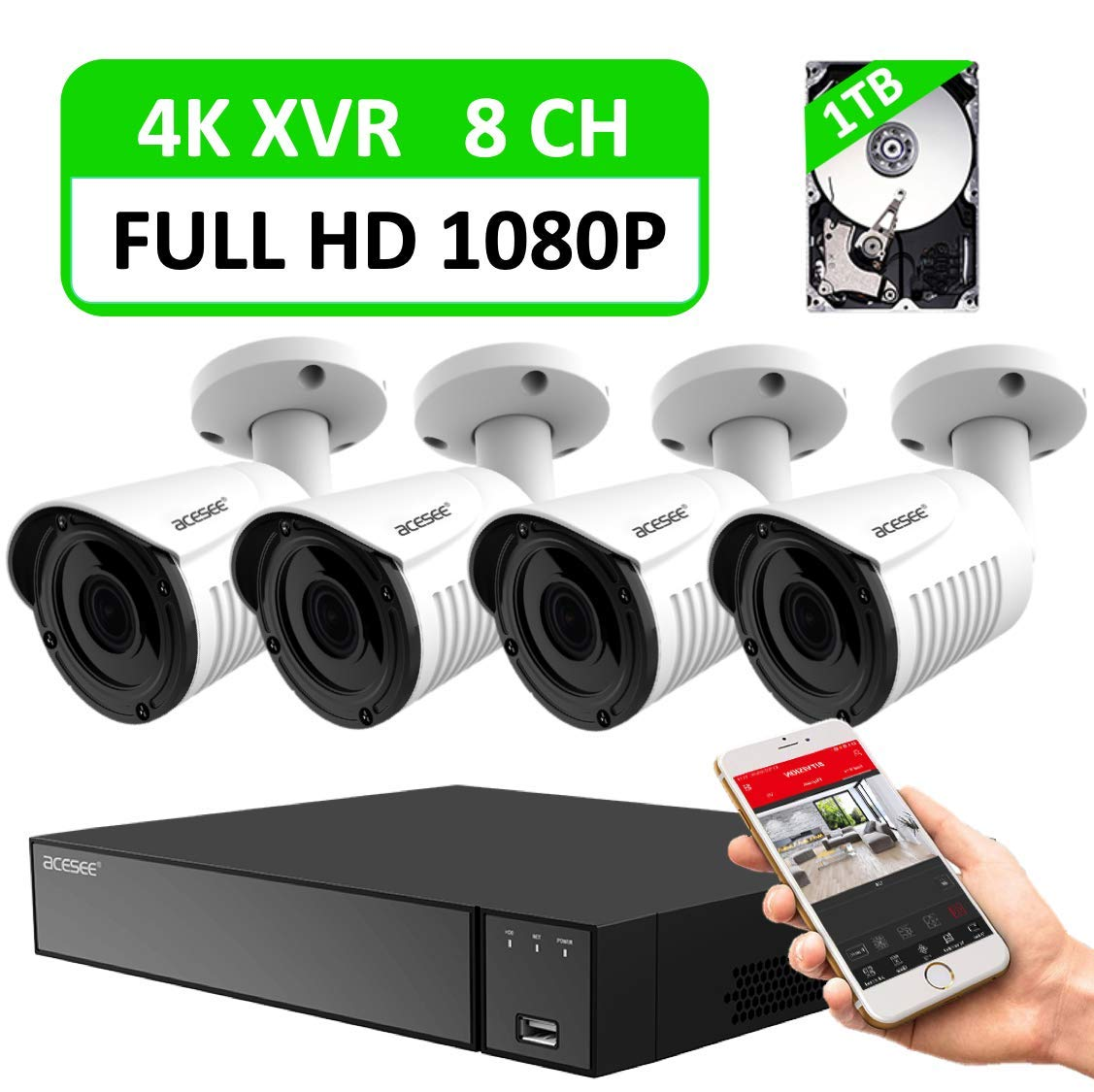 8CH Home Security Camera System with 4K Wired DVR and 4pcs 1080P Indoor Outdoor Surveillance Bullet CCTV Cameras with Weatherproof/Night Vision/Motion Alert/Easy Remote Access/Include 1TB Hard Drive by acesee