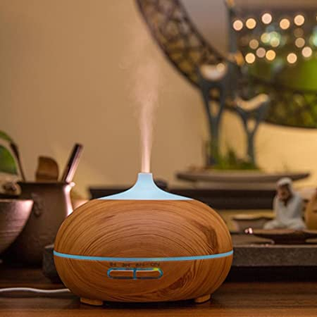 400ml Aromatherapy Essential Oil Diffuser, Ultrasonic Cool Mist Humidifier with Wood Grain Design for Office, Room, Spa