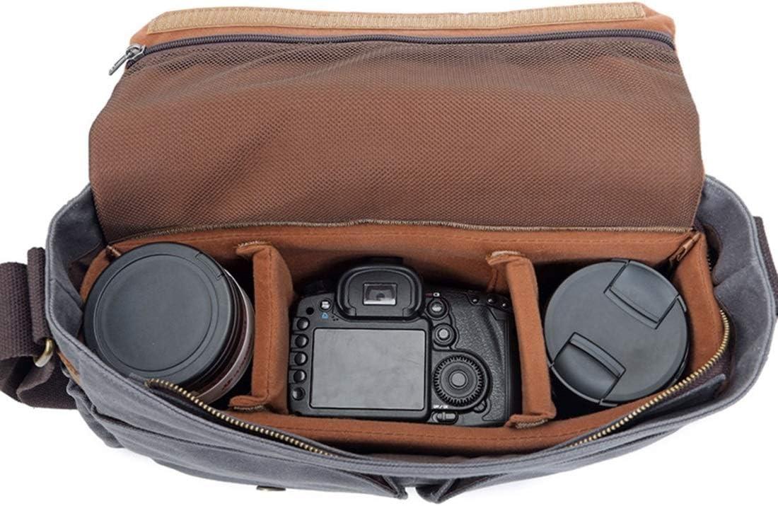 XIAMEND Leather Canvas Messenger Bag Waterproof SLR DSLR Camera Bag with Shockproof Padded Interior Vintage Shoulder Bag for Digital Cameras Color : Grey