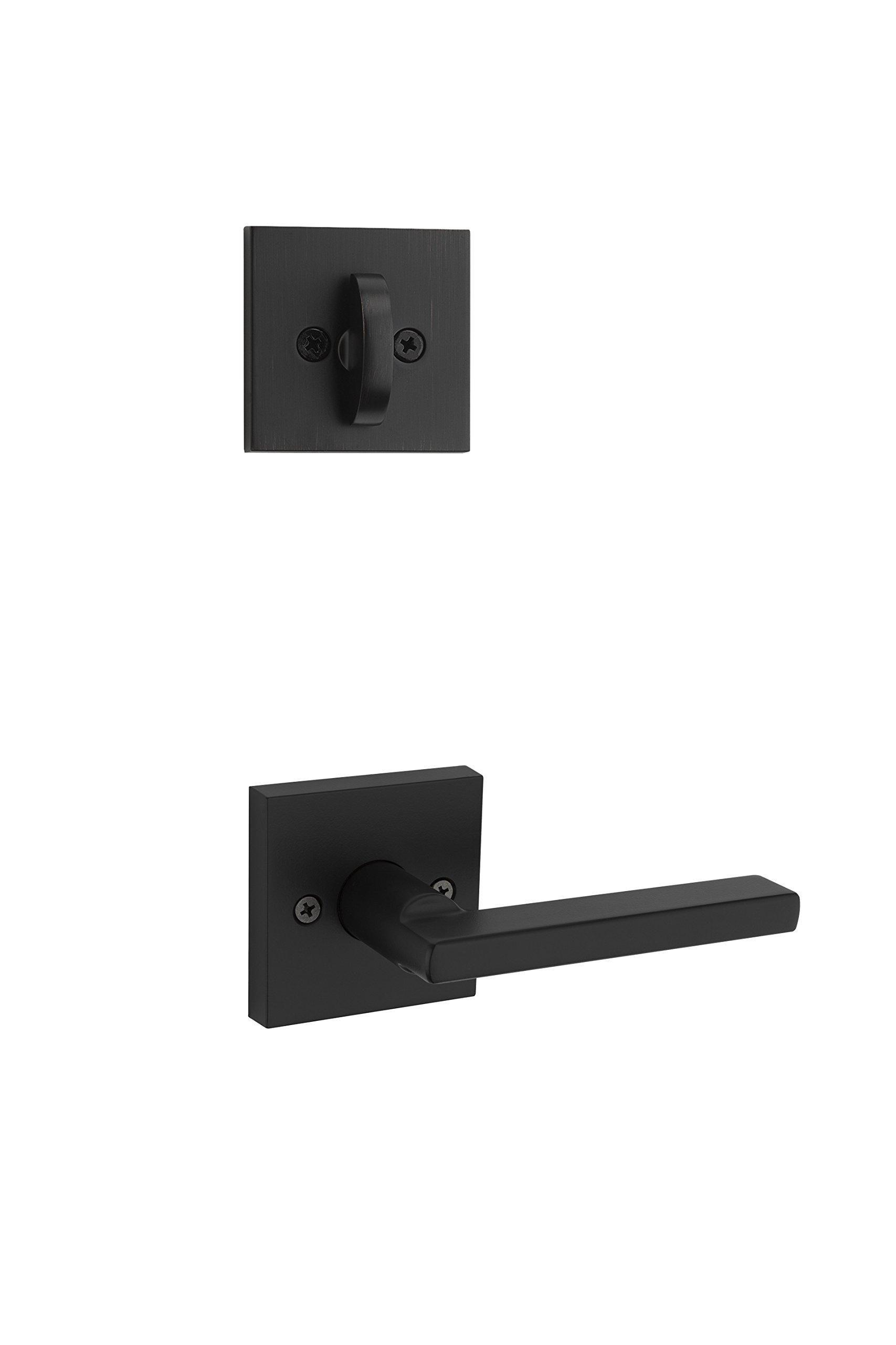 Kwikset 966HFL SQT 514 Halifax Square Single Cylinder Interior Pack Lever, Iron Black