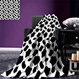 Cow Print Lightweight Blanket Cattle Skin Pattern with Scattered Spots Animal Hide Plain and Pasture Print Digital Printing Blanket White Black