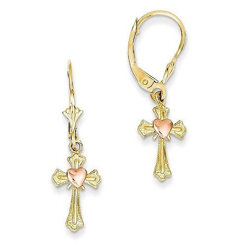 Two-tone Heart on Cross Leverback Earrings