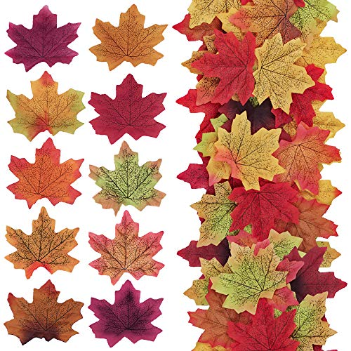 Supla 500 Pcs 10 Colors Assorted Fake Silk Autumn Maple Leaves Bulk Artificial Fall Leaf Foliage 3.15 L X 3.15 W for Thanksgiving Table Door Fall Wedding Party Birthday Baby Shower Decorations