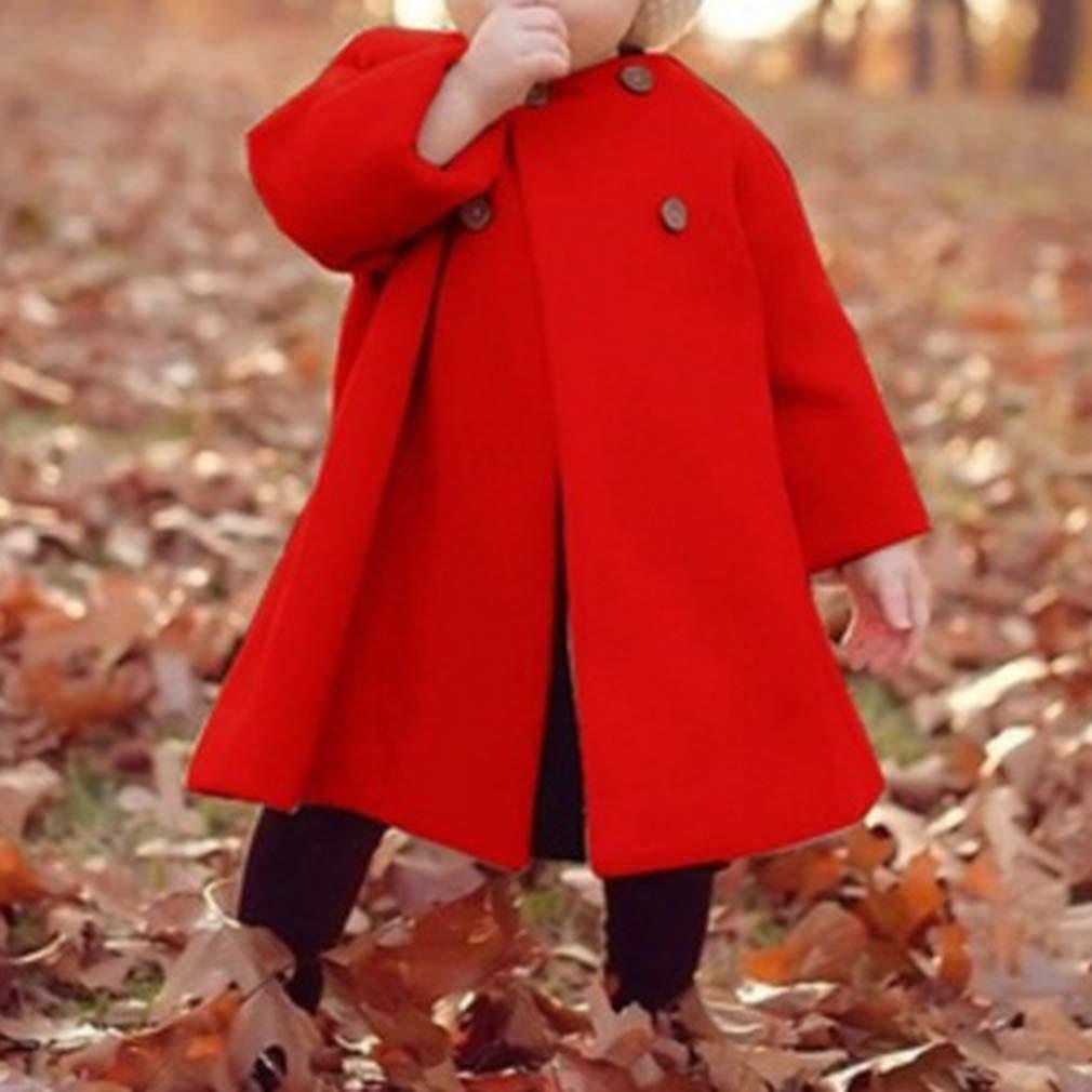 Herbst Mantel M/ädchen Elegante Warm Prinzessin Wintermantel Baby Kinder Winterjacke mit Kn/öpfen Mantel Outwear Jacke Rot//Schwarz//Khaki//Wein Rot