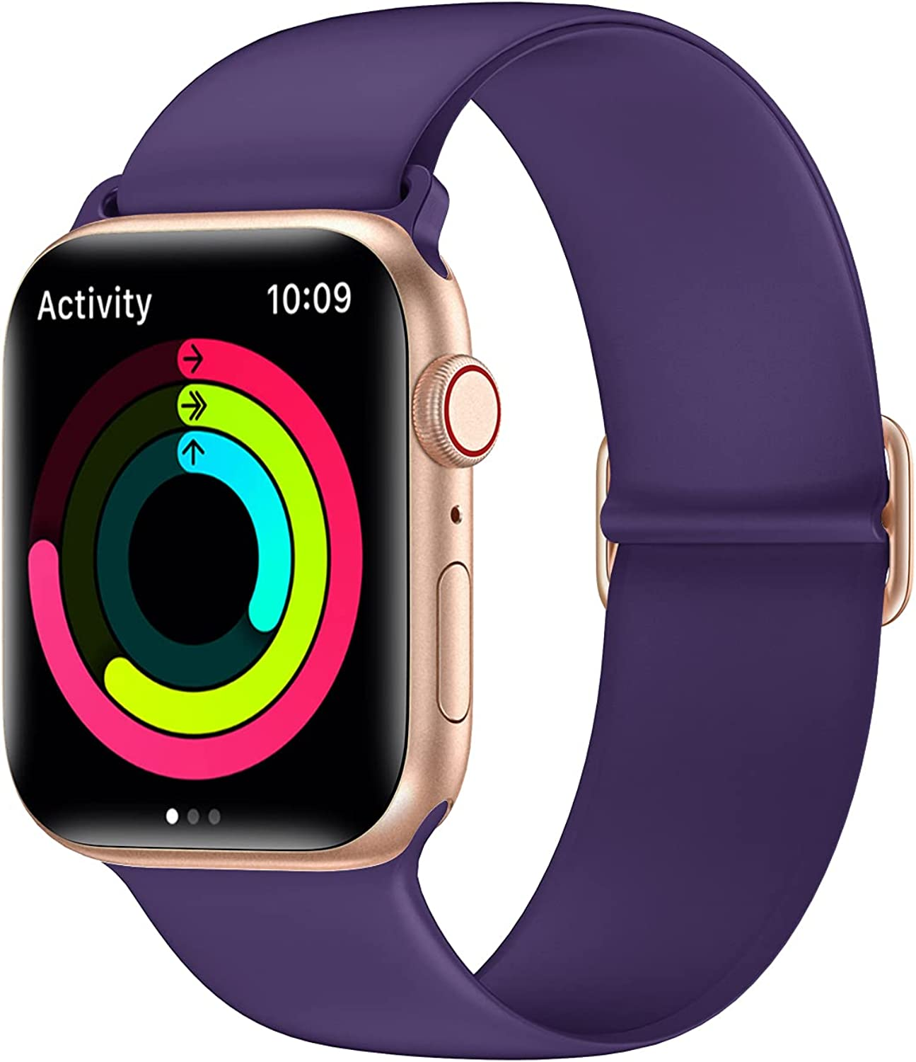 AMANECER Liquid Silicone Watch Bands Compatible with Apple Watch Series 6/5/4/3/2/1 SE, Adjustable Stretchable Sport Loop Bands for iWatch Women Men