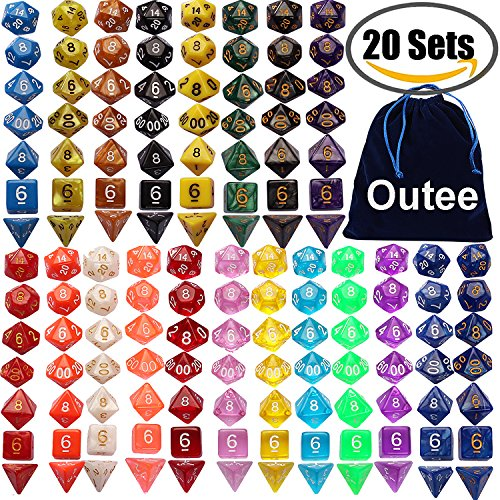 Outee 140 Pcs Polyhedral Dice Set - 20 Color Complete Dice and Dice Sets for MTG RPG Dice Game with 1 Big Pouch Polyhedral Set