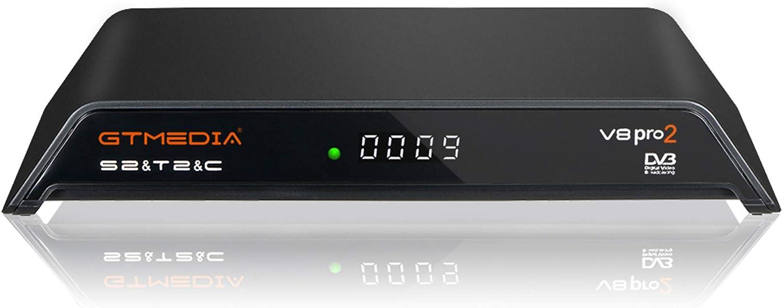 GT MEDIA V8 PRO2 DVB-T/T2 ISDB-T S/S2/S2X Cable HD 1080P Receptor Terrestre Digital Satélite Decodificador Wi-Fi Integrado, H.264/H.265 ...
