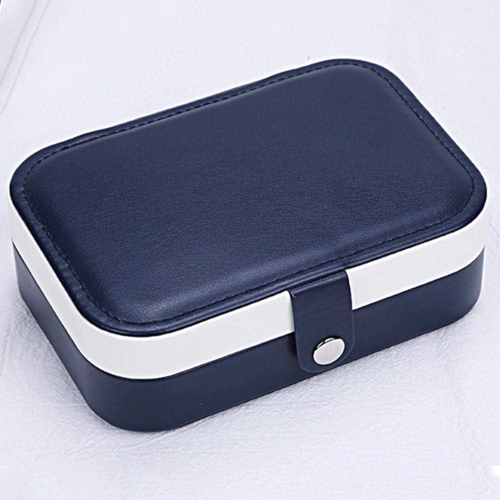 Z-NING Compruebe la Caja de joyería portátil de Cuero Pendientes Dobles Pendientes Anillo Caja de Almacenamiento de Joyas, Azul Marino, 16.5 * 11.5 * 5.5cm