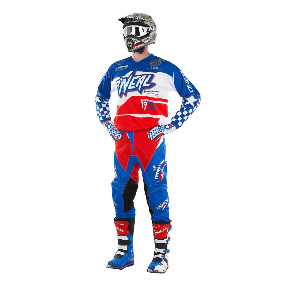 ONeal Kids//Youth Element Afterburner Blue//Red//White motocross MX off-road dirt bike Jersey Pants combo riding gear set // Jersey Kids X-Large 26 Pants 12//14