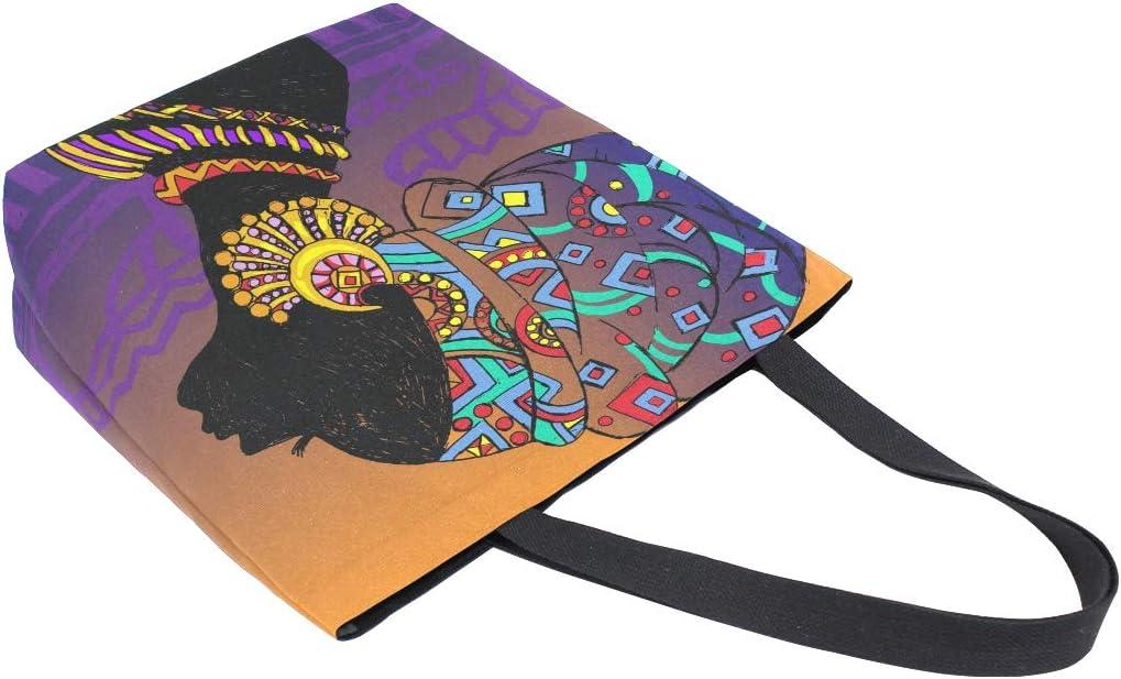 Beautiful Golden Red Blue Earrings Large Shopping Bag Books Laptop Handbag For Women Mother Wife Teacher Outdoor School Travel Beach African Women Scarf Canvas Tote Bags