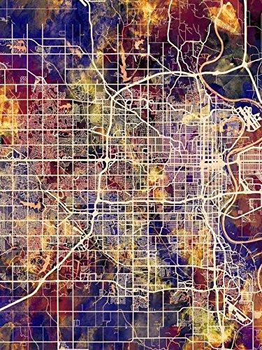 Imagekind Wall Art Print entitled Omaha Nebraska City Map by Michael Tompsett | 8 x 10 ()