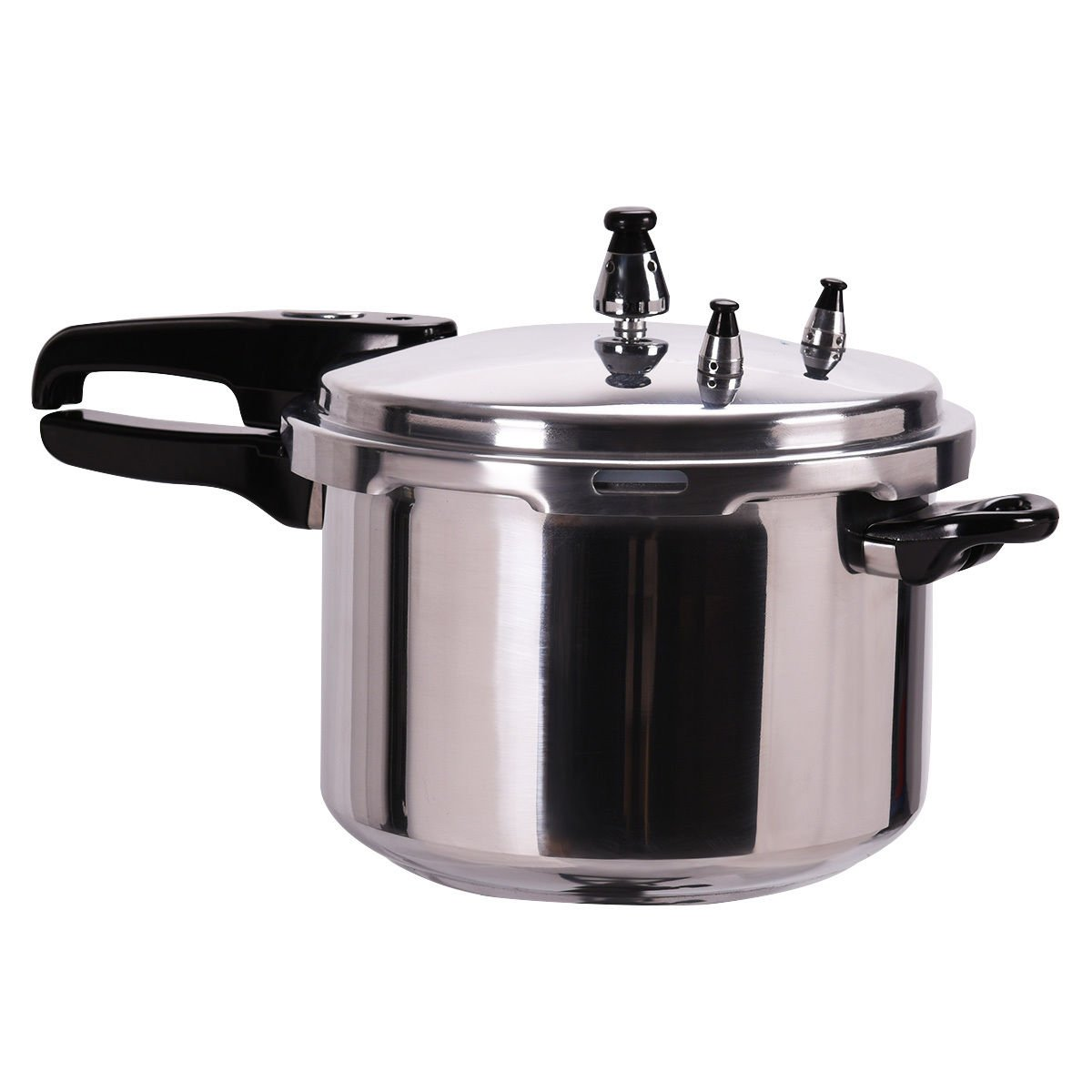 GHP 6-Quart Capacity Silver Aluminum Alloy Pressure Cooker with Spring Safety Valve