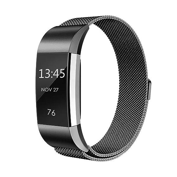 Bestow Fitbit Charge 2 Milanese Correa de Reloj de Acero Inoxidable Correa siamesa Artilugios electrš®nicos(Negro): Amazon.es: Ropa y accesorios