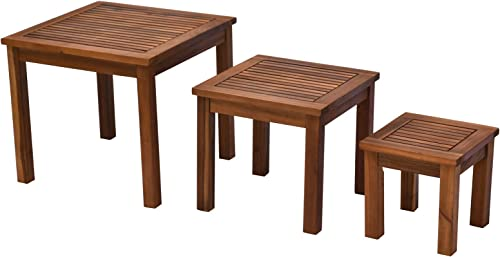 Outsunny 3 Piece Outdoor Side Nesting Table Patio Set