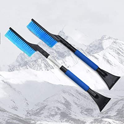 MYSBIKER Snow Brush and Ice Scraper, Car Snow Brush Removal Extendable from 65cm to 83cm with Foam Grip for Winter Car Vehicle Windshield with Stiff Bristle: Automotive