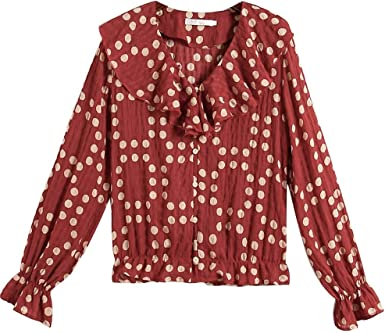 Mujer Casual Camiseta de Manga Larga Camisa de Gasa otoño e Invierno cómodo Slim fit Camiseta Moda Joker Blusa para Mujer Ocio Suelto Blusa Top Estampado de Lunares con Cuello en v: