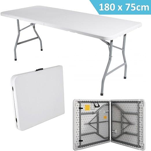 Mesa plegable plegable tipo maleta 180 x 75 cm Hierro y resina ...