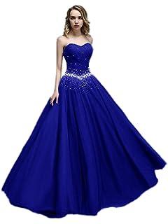 03a312f1c22 APXPF Femme Longue Tulle Princesse Perles Robe de Bal Robe de Bal  Quinceanera