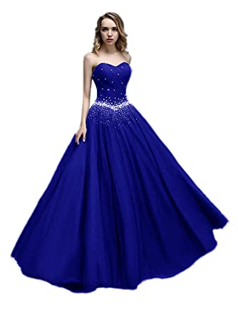 en soldes 43002 47b81 APXPF Femme Longue Tulle Princesse Perles Robe de Bal Robe de Bal  Quinceanera