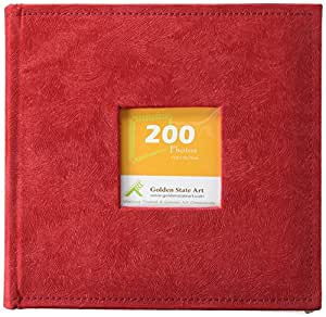 """Golden State Art Photo Album, Holds 200 4""""x6"""" Pictures, 2 Per Page, Suede Cover, Cl55058-9 Red"""