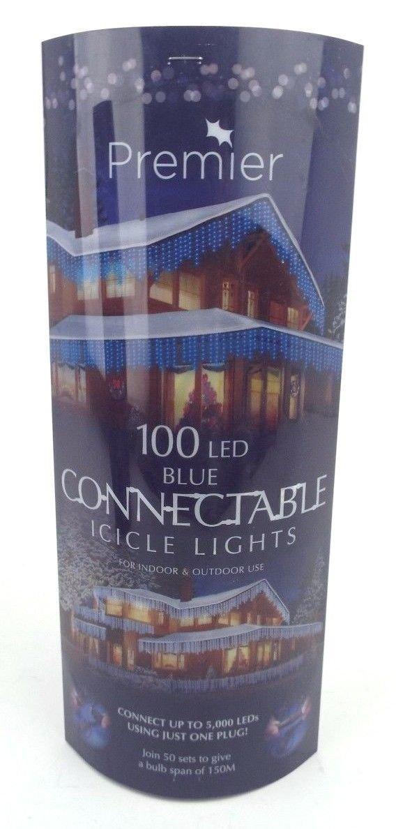 Blue 100 L.E.D Connectable Icicle Lights Premier