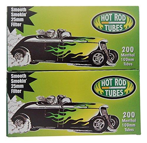 Hot Rod Cigarette Tubes 100mm Menthol. 2-Pack - 400 tubes total